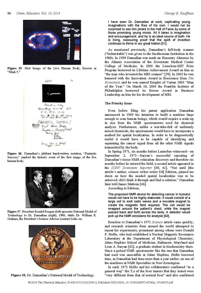 Nobel Prize for MRI Imaging Denied to Raymond V. Damadian