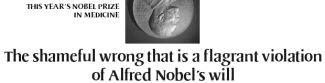 The shameful wrong that is a flagrant violation of Alfred Nobel's will - November 20, 2003