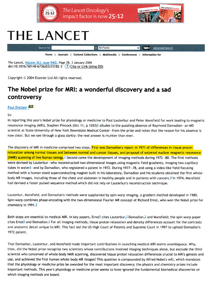 Lancet Article: The Nobel prize for MRI-a wonderful discovery and a sad controversy