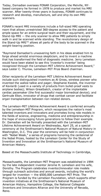 Lemelson-MIT Program  Bestows Lifetime Achievement Award to Pioneer of Diagnostic Medicine