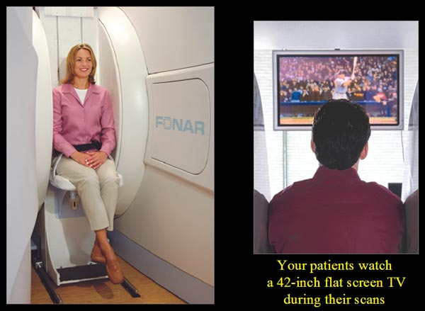 Patient Seat in Upright MRI watching TV