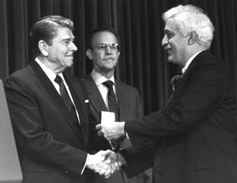 Raymond Damadian, MD  receiving the National Medal of Technology from Presiden Reagan