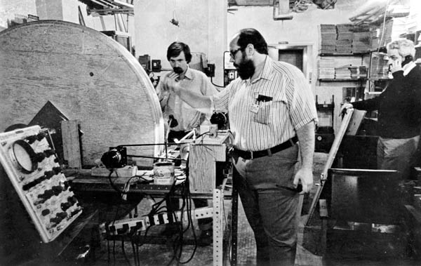 Michael Goldsmith and Michael Stanford winding one of the two Niobium Titanium (NbTE) superconducting magnet coils built for Indomitable.