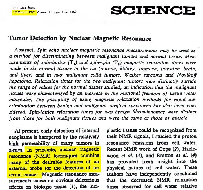 Inventor of the MRI denied the 2003 Nobel Prize in Medicine